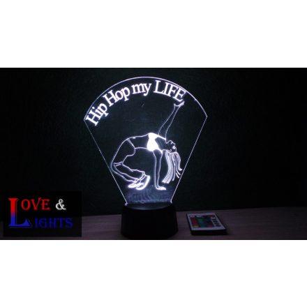Hip-Hop táncoslány mintás lámpa kérhető felirattal