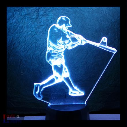 Baseball játékos mintás 3d illúzió lámpa