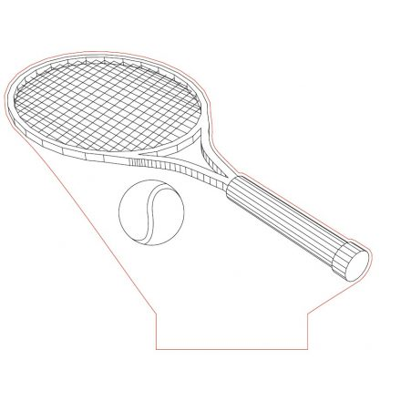Teniszütő mintás lámpa kérhető felirattal