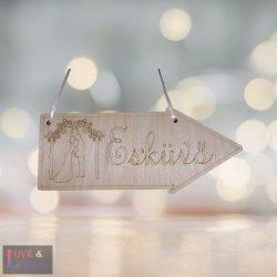 Esküvő feliratú nyíl