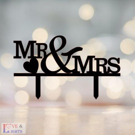Mr & Mrs feliratos esküvői tortadísz 2
