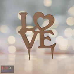 LOVE feliratos esküvői tortadísz