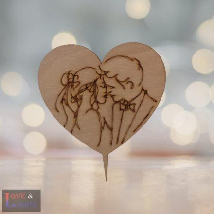 Szív alakú csók mintás tortadísz