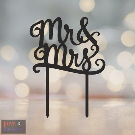 Mr & Mrs feliratos tortadísz 3