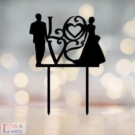 Menyasszony vőlegény mintás esküvői tortadísz love felirattal