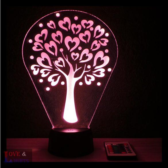 Szívecskés fa mintás illúzió lámpa