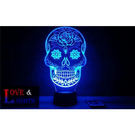Díszes koponya ( skull)  mintás illúzió lámpa