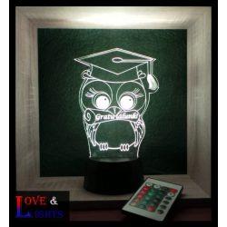 Bagoly mintás emlék lámpa ballagásra / diplomaosztóra