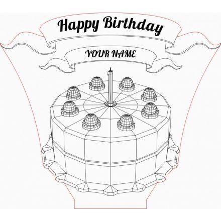 Születésnapi torta mintás illúzió lámpa