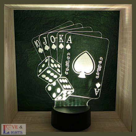 Pókerkártya mintás illúzió lámpa