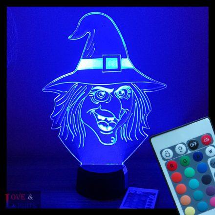 Boszorkányfej mintás halloweeni illúzió lámpa