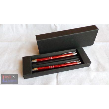 Gravírozott piros toll és rotring szett díszdobozban, egyedi felirattal