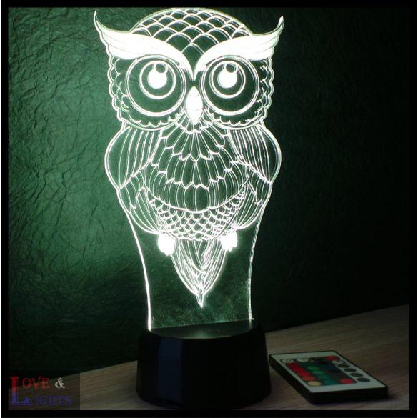 Bagoly mintás illúzió lámpa