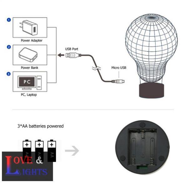 Mosómaci szivecskével mintás illúzió lámpa