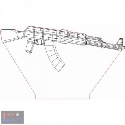 AK-47-es típusú lőfegyver mintás 3D illúzió lámpa