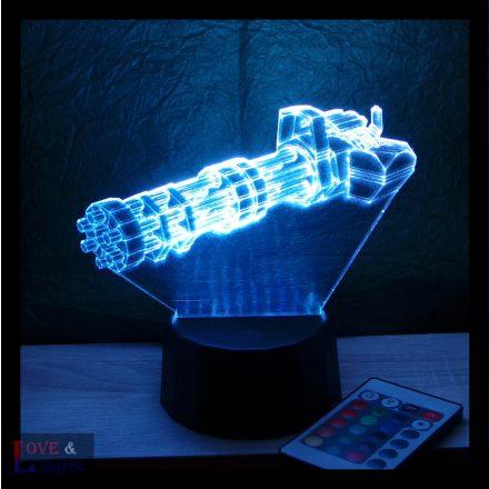 Gatling lőfegyver  mintás 3D illúzió lámpa