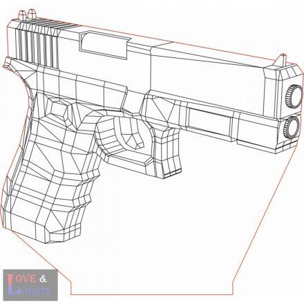 Glock 17-es pisztoly mintás 3D illúzió lámpa