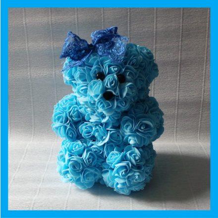 Világoskék rózsa maci - 25 cm