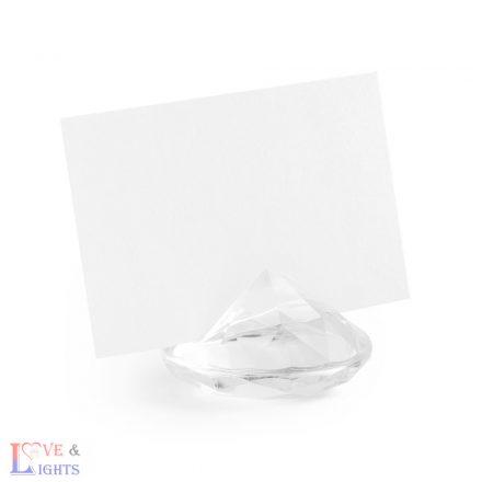 Átlátszó gyémánt alakú ültetőkártya tartó  -10db