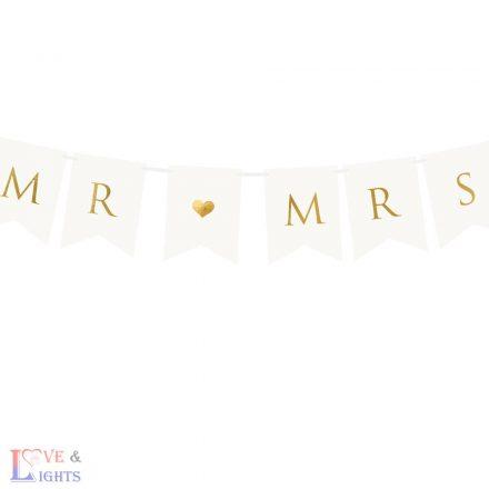 Arany Mr & Mrs feliratú füzér esküvőre