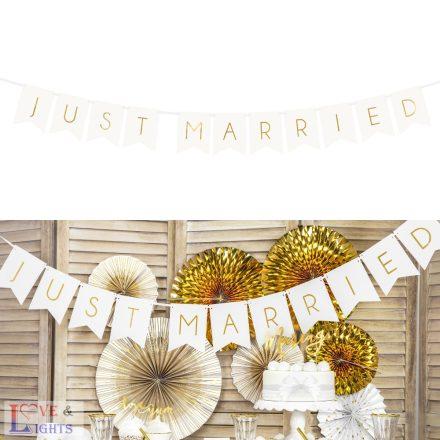 """""""Just Married"""" arany feliratos füzér"""