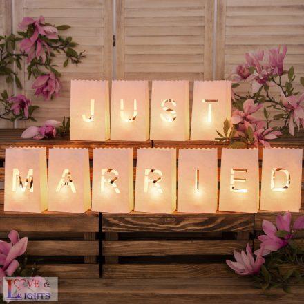 Just Married feliratos gyertya lámpás