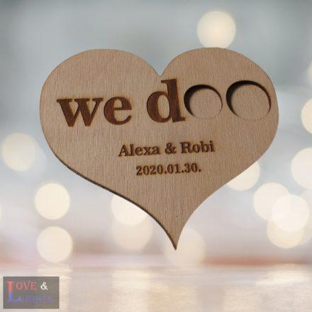 WE DOO feliratos, szív alakú fa gyűrűtartó