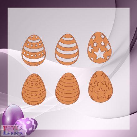 Fából készült húsvéti tojások 6 db