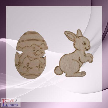 Fából készült húsvéti dekoráció - nyuszi és csibe