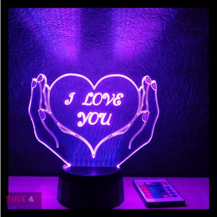 Szív a kézben mintás 3D illúzió lámpa egyedi felirattal