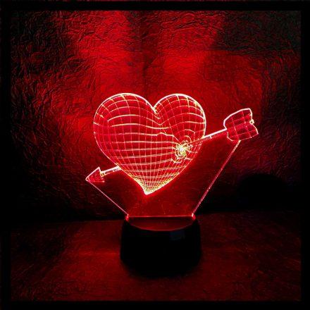 Szív nyíllal mintás 3D illúzió lámpa