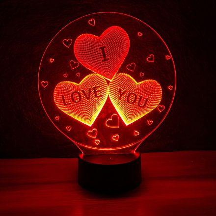 Három szív I LOVE YOU felirattal mintás 3d illúzió lámpa