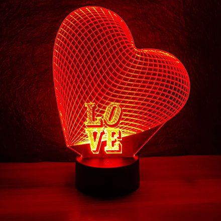 Nagy szív, LOVE felirattal 3d illúzió lámpa