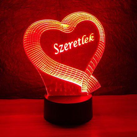 Kis szív szalagból mintás 3d illúzió lámpa egyedi felirattal