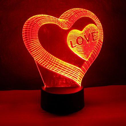 Szív a szívben mintás 3d illúzió lámpa egyedi felirattal