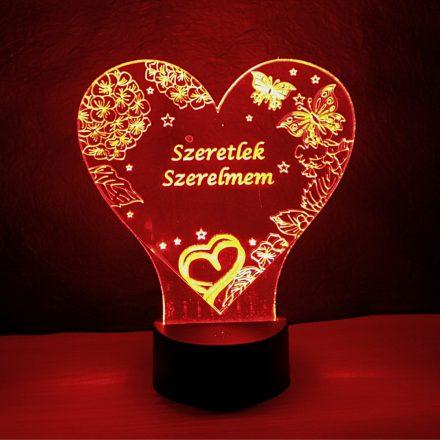 Szív alakú pillangó mintás 3D illúzió lámpa egyedi felirattal