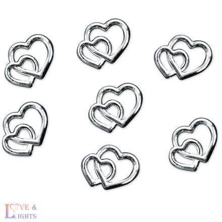 Ezüst színű szívecskék - 1cm - 25 db