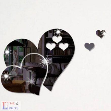 Szív formás tükrös falmatrica - fekete