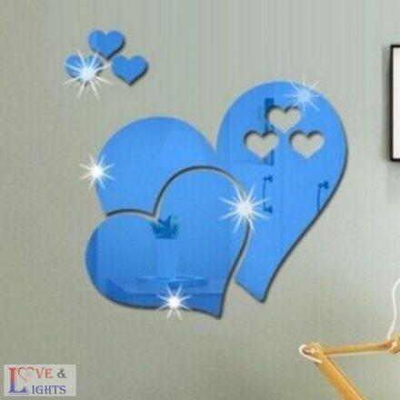 Szív formás tükrös falmatrica - kék
