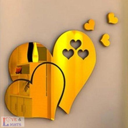 Szív formás tükrös falmatrica - arany