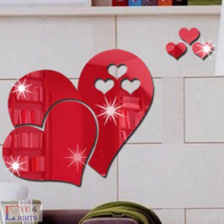Szív formás tükrös falmatrica - piros