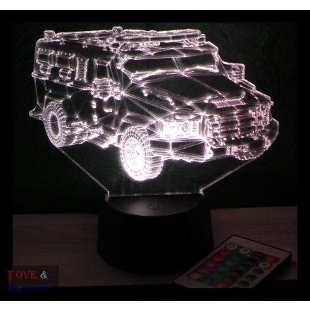 Harcászati autó mintás 3D illúzió lámpa