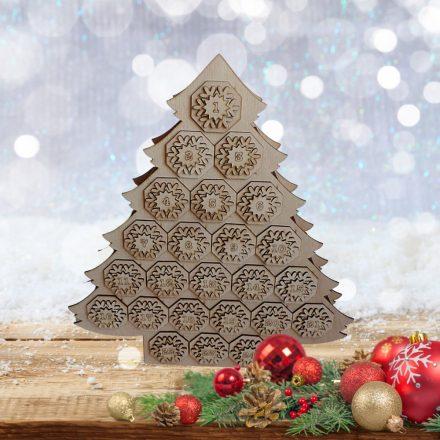 Adventi kalendárium -  256 db-os fa 3D puzzle  -  karácsonyfa alakú