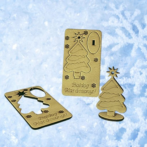 Karácsonyi ajándékkísérő fából - fenyőfás
