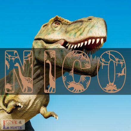 Fa betűk dinoszauruszos mintával - fali dekoráció