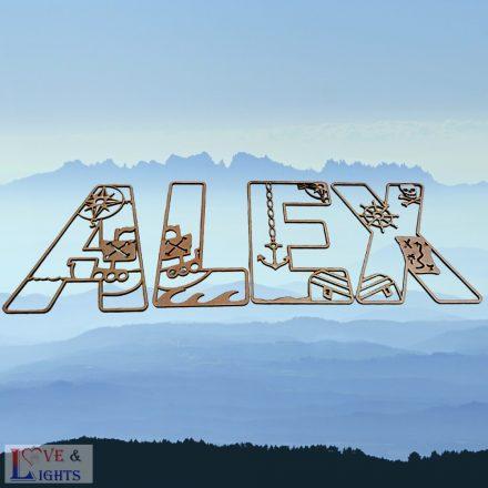 Fa betűk kalóz mintával - fali dekoráció