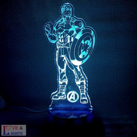 Bosszúállók -Amerika kapitány mintás LED lámpa