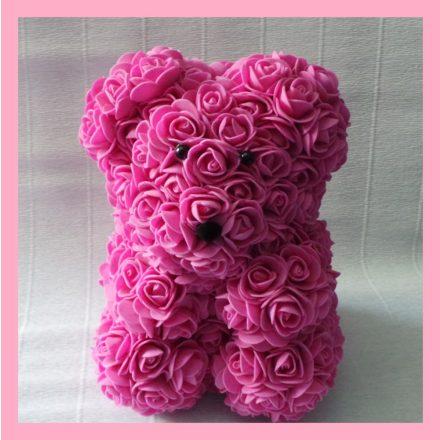 Rózsaszín rózsa maci - 25cm