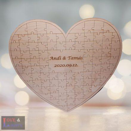 Szív alakú puzzle vendégkönyv esküvőre