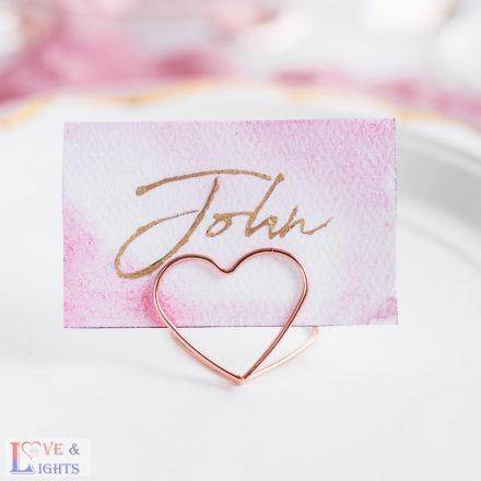Rózsaarany színű ültetőkártya tartó szívecske -10db